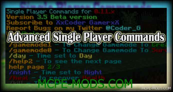 Advanced Single Player Commands Mod 0.11.1