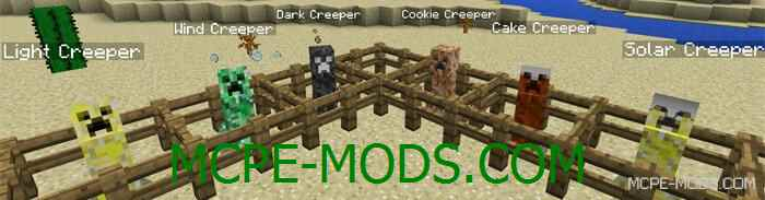 Мод на новых криперов Creepers+ для Майнкрафт 0.13.0