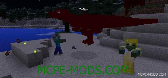Мод на динозавра T-Rex для Minecraft PE 0.14.0