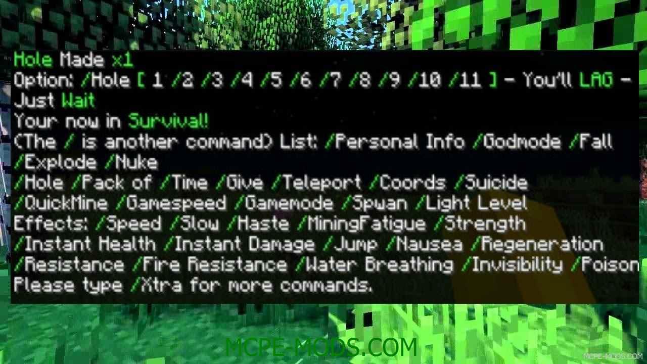 Мод X-Commands на Майнкрафт ПЕ 0.14.0