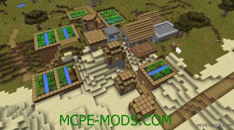Сид на деревню между пустыней и саванной для Майнкрафт ПЕ 0.14.0 / 0.14.1 / 0.14.2 / 0.14.3