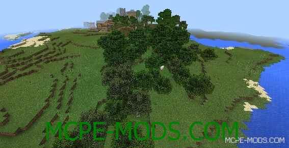 Сид на деревню возле океана для Майнкрафт ПЕ 0.14.0 / 0.14.1 / 0.14.2 / 0.14.3