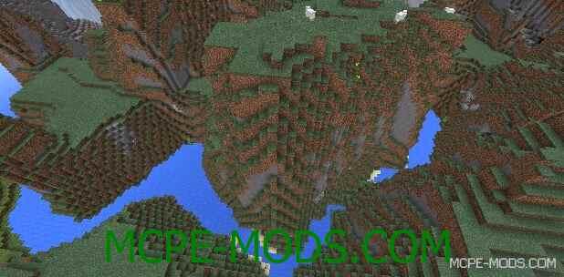 Сид на высокие горы, леса и реки для Майнкрафт ПЕ 0.14.0 / 0.14.1 / 0.14.2 / 0.14.3