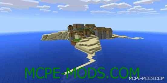 Сид на остров с деревней для Майнкрафт ПЕ 0.14.0 / 0.14.1 / 0.14.2 / 0.14.3