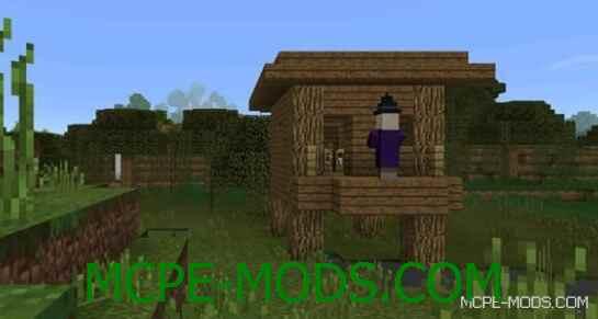 Сид Две хижины ведьмы и деревня на спавне для Майнкрафт ПЕ 0.14.0 / 0.14.1 / 0.14.2 / 0.14.3 на дом