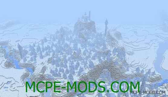 Сид Две деревни и огромная ледниковая тундра для Майнкрафт ПЕ 0.14.0 / 0.14.1 / 0.14.2 / 0.14.3