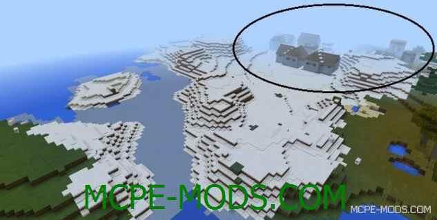 Сид Савана деревня в снежном биоме для Майнкрафт ПЕ 0.15.0 / 0.15.1 / 0.15.2 / 0.15.3