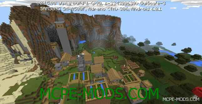 Сид деревня на склоне для Minecraft PE 0.16.0