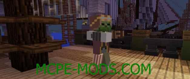 Скачать мод Pirate Zombie для Minecraft PE 0.16.0, 0.16.1 бесплатно на Андроид