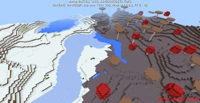 Сид Грибной и снежный биомы на Minecraft PE 0.17.0, 0.17.1