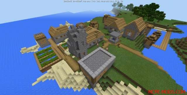 Сид Деревня с кузницей на полуострове на Minecraft PE 1.0, 0.17.0, 0.17.1